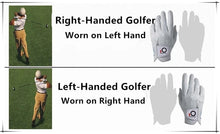Load image into Gallery viewer, FINGER TEN Mens All Weather Cabretta Synthetic Leather Natural Fit Velcro Durable Left/Right Hand Golf Glove Value 6 Pack