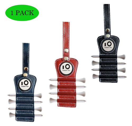 Leather Golf Tee Holder with 4 Pcs Wood Tee 1 Ball Marker - fingertensport