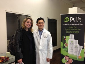 Dr. Lin with Emily Gaynor from Teen Vogue's beauty and skincare