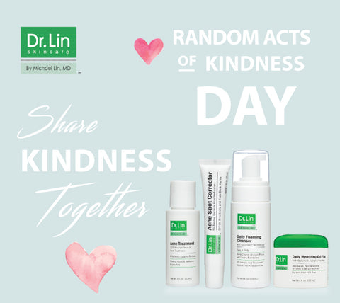 dr. lin donates skincare products on random acts of kindness day
