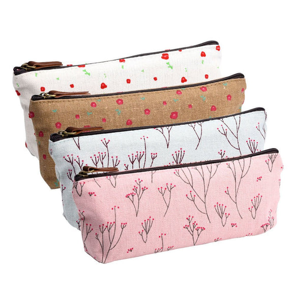 Flower Canvas Pen Bag