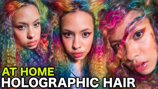 HOLOGRAPHIC HAIR TUTORIAL: Dying my Hair at Home - Dyed CURLY HAIR - Opal Hair -  RAINBOW Curly HAIR