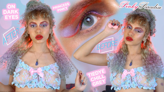 Princess Pinky Tiedye Chill Grey | Pinky Paradise Lenses Try On on Dark Brown Eyes | Sugar Thrillz
