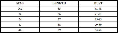 LTYH Crop Top Size Chart