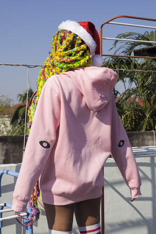 Rainbow Braids Pink Elbow Patch Hoodie