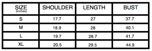 Graphic Tees Size Chart