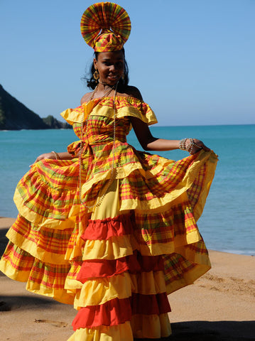 Traditional Caribbean Madras Dress