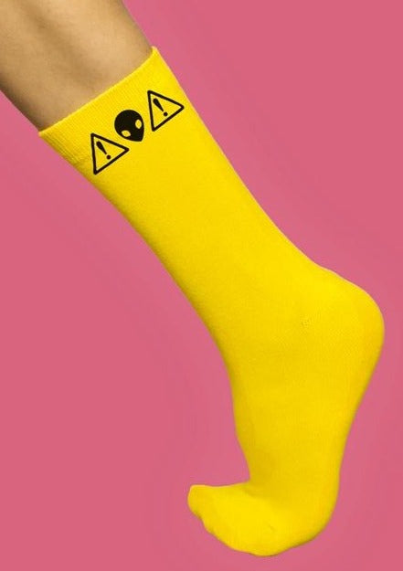 Alien Warning Graphic Socks