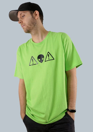Green Alien Warning Graphic Tee - Men