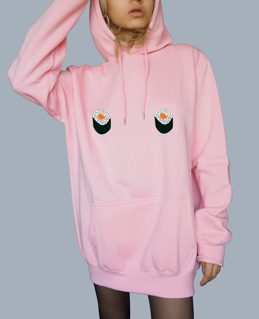 Kawaii Salmon Maki Oversized Hoodie - Free The Nipple - Pastel Pink
