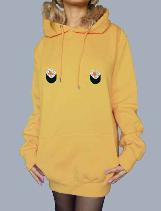 Kawaii Salmon Maki Oversized Hoodie - Free The Nipple - Daffodil Yellow