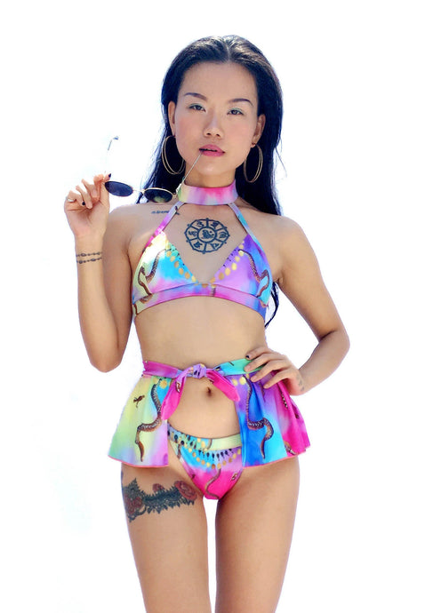 Egyptian Bliss - Rainbow Choker Bikini & Swim Skirt