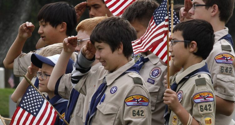 Boy scouts saluting American flag