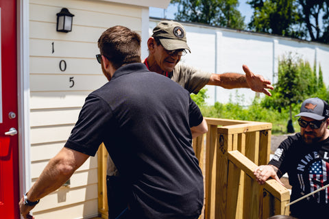 Tyler Merritt visits the Veteran's tiny home village, one of the many initiatives of the Nine Line Foundation.