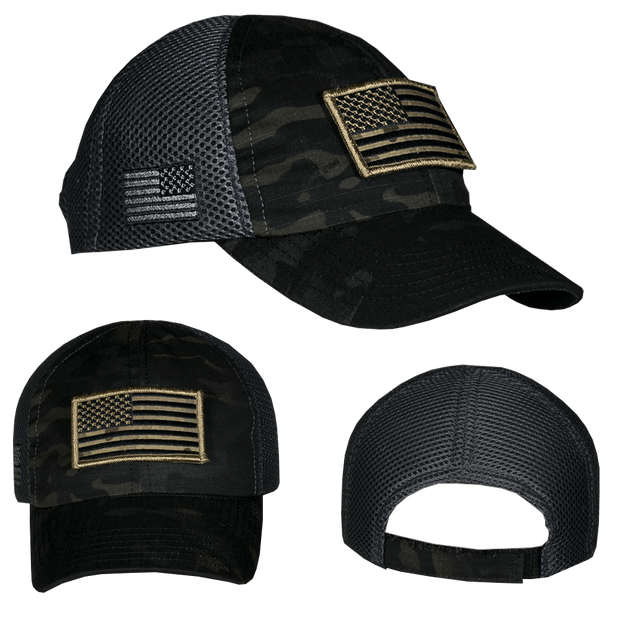 Dark American Made Mesh Back Hat with camo American flag Patch