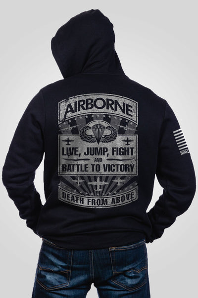 Men's Full-Zip Hoodie - Airborne - Live, Jump, Fight