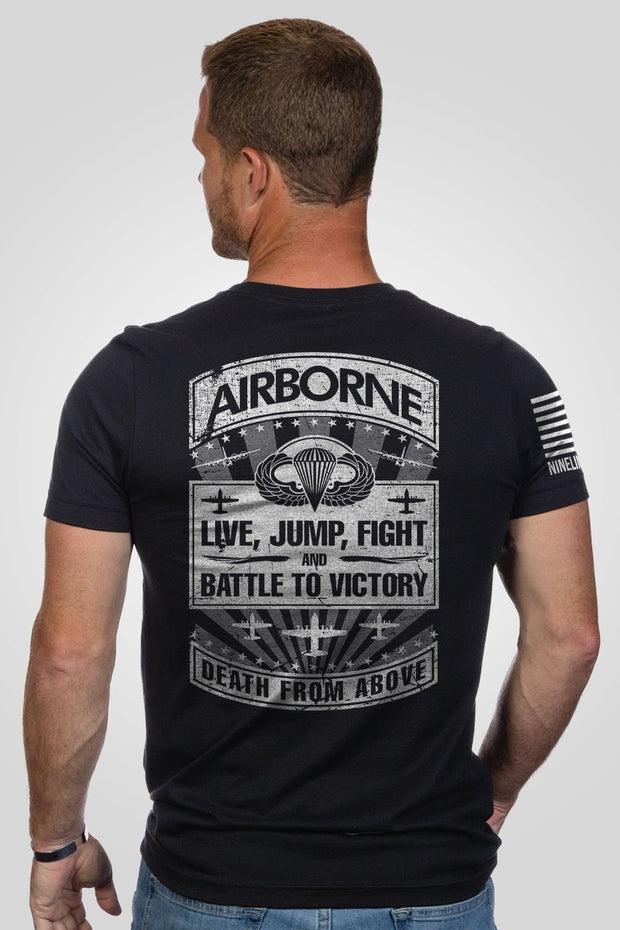 Men's T-Shirt - Airborne - Live, Jump, Fight