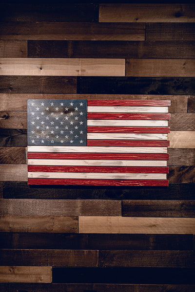 American Wooden Flag Sign - Color Flag (No Box)