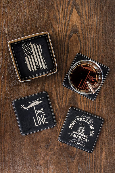 American flag, Nine Line, and don't tread on me coasters on table