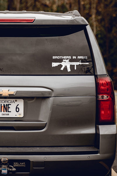 Vinyl Decal - Brothers in Arms Rifle (White)