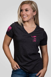 Women's Relaxed Fit V-Neck Shirt - Breast Cancer Awareness