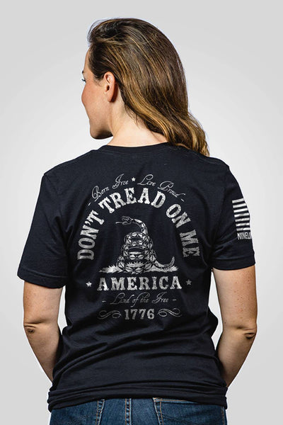 Black don't tread on me women's shirt printed on back