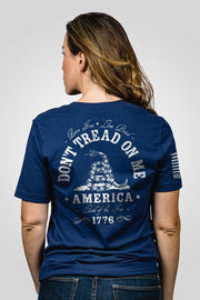 Navy blue don't tread on me women's shirt printed on back