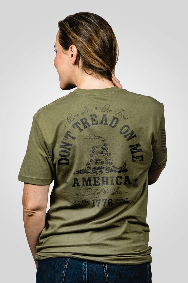 Olive green drab don't tread on me women's shirt printed on back