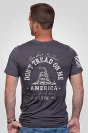 Grey don't tread on me men's performance shirt, rear view