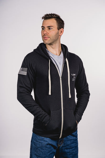 American Made Hoodie - Drop Line and Flag