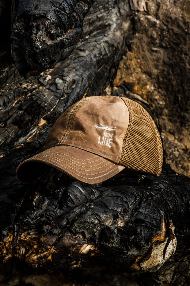Tan American Made Mesh Back Hat with Drop Line