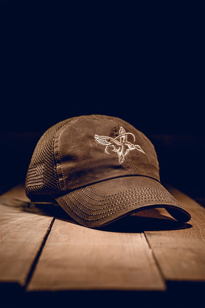 Waxed Tan American Made Mesh Back Hat - Halo Waterfowl