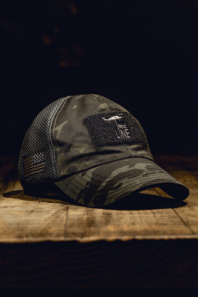 Dark American Made Mesh Back Hat with Drop Line [ON SALE]