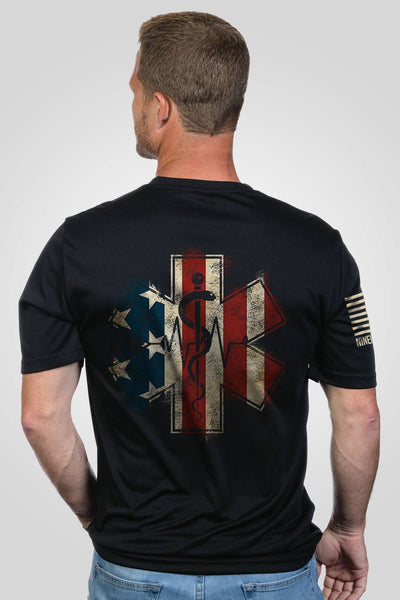 Men's Moisture Wicking T-Shirt - EMS Flag
