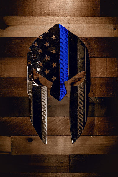 Molten Metal Sign - Thin Blue Line Spartan
