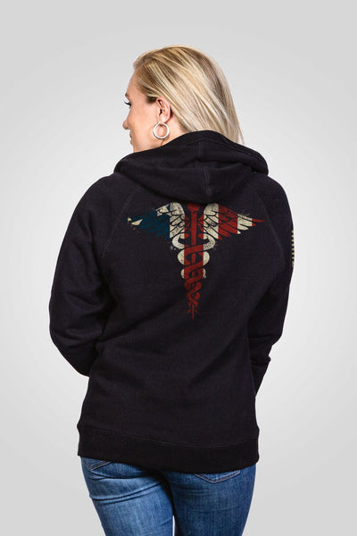 Women's V-Neck Hoodie - Nurse Flag