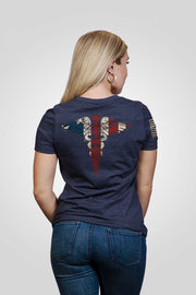 Women's Relaxed Fit V-Neck Shirt - Nurse Flag [LTD]
