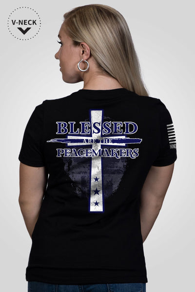 Women's Relaxed Fit V-Neck Shirt - Blessed Are The Peacemakers