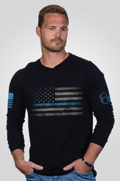 Men's Long Sleeve - Officer Baker- Courage, Honor, Bravery, Integrity
