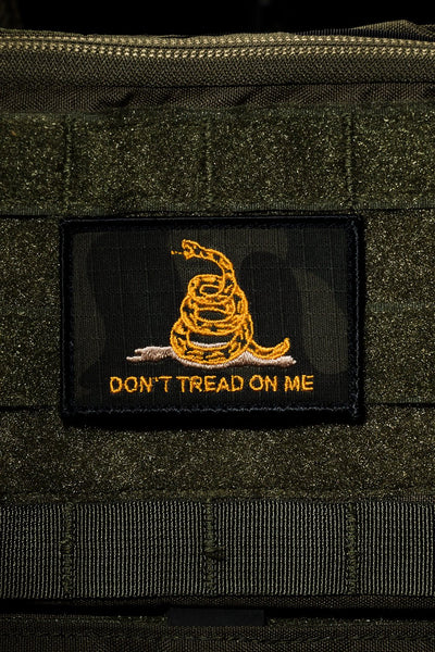 Yellow don't tread on me flag on black background patch