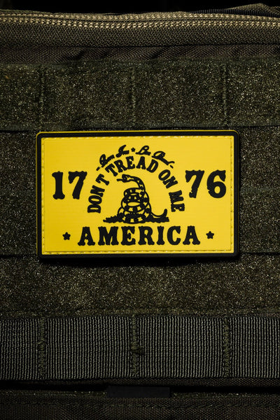 Yellow rubber morale patch with 1776 America 3D graphic