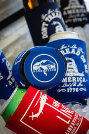 Blue and red Nine Line koozies keeping drinks cold
