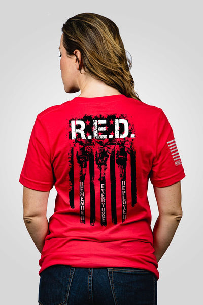 Boyfriend Fit T-Shirt - RED Remember Everyone Deployed