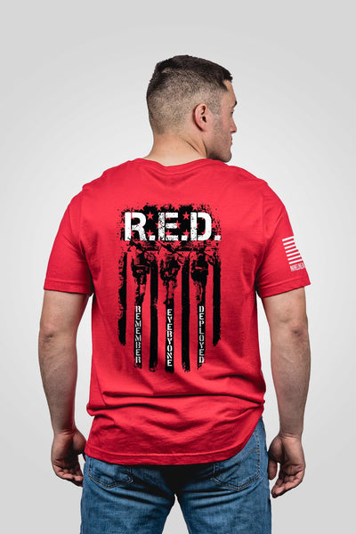 Mens T-Shirt - RED Remember Everyone Deployed