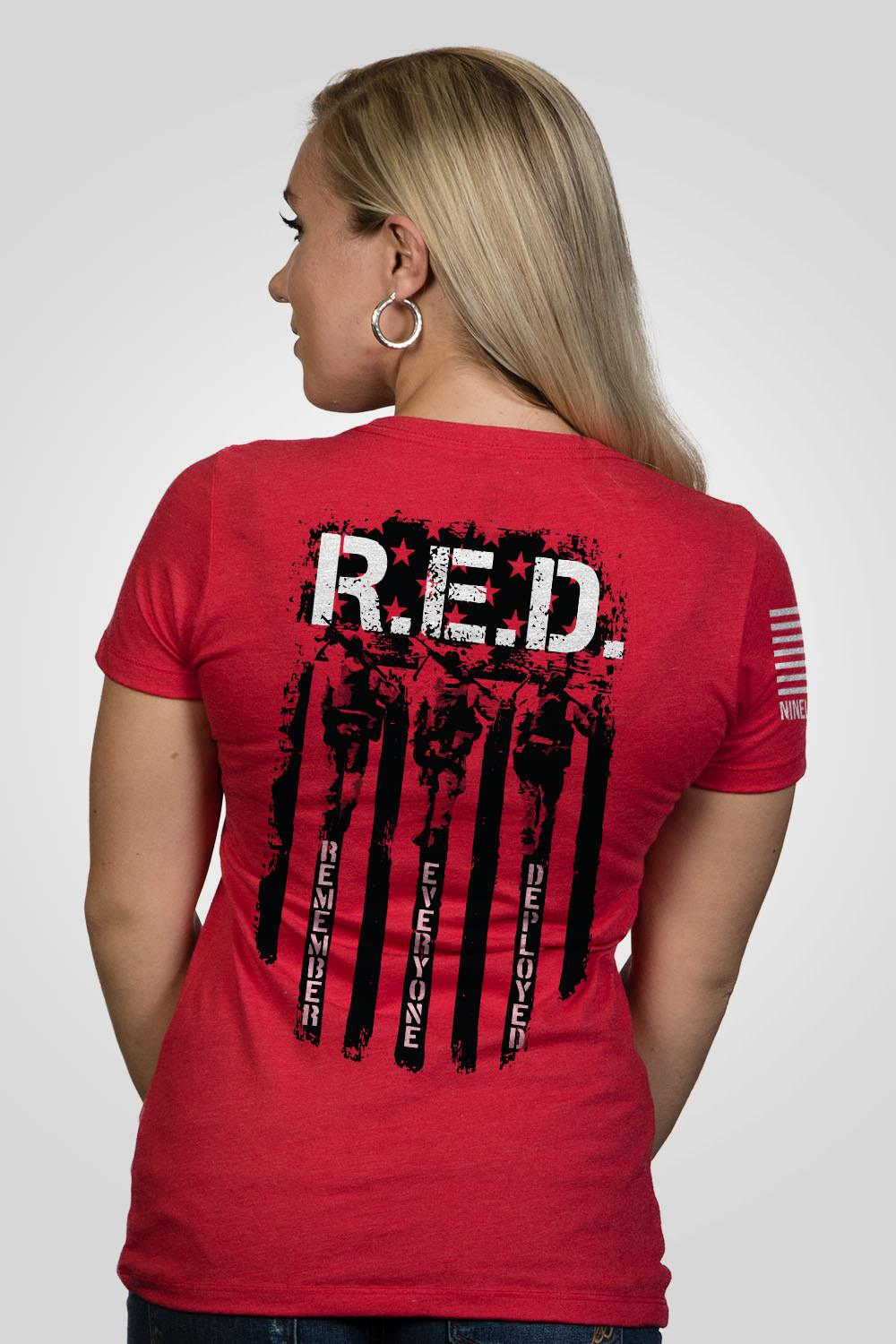 99f2b487 Womens Junior Fit T-Shirt - RED Remember Everyone Deployed