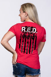 Women's Junior Fit V-Neck - RED Remember Everyone Deployed