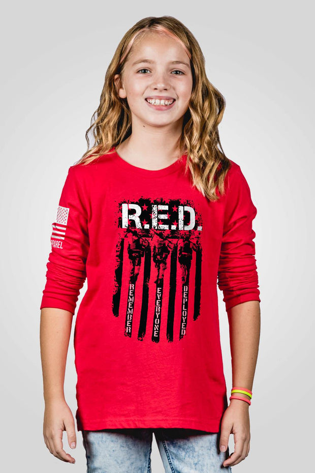 Youth Long Sleeve - RED Remember Everyone Deployed