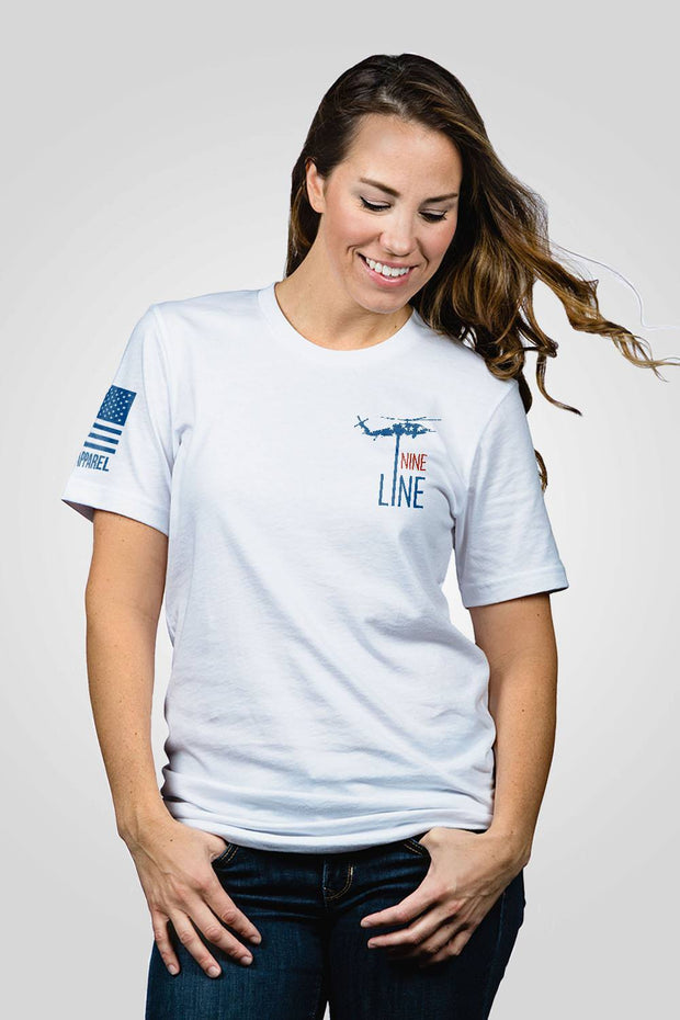 Boyfriend Fit T-Shirt - Red, White, Blue Dropline