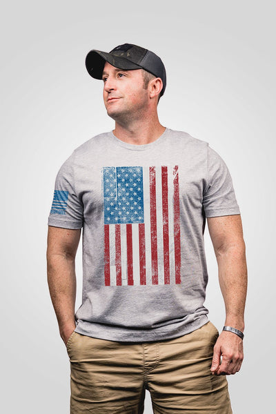 Seasonal Men's T-Shirt - Ryan Weaver Wood Etched Flag