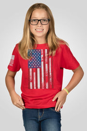 Youth T-Shirt - Ryan Weaver Wood Etched Flag